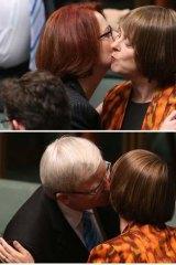 Julia Gillard and Kevin Rudd embrace Nicola Roxon.