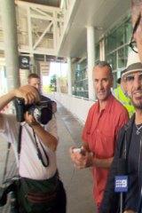 Ringo Starr arrives at Brisbane airport Sunday, Feb. 10.