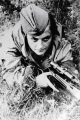'Lady Death': Red Army sniper Lyudmila Pavlichenko holds a rifle as she defends Sevastopol from the Nazis on June 6, 1942.