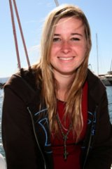 Abby Sunderland on board her boat, Wild Eyes.
