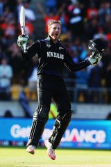 Martin Guptill celebrates after reaching the 200-run mark against West Indies.