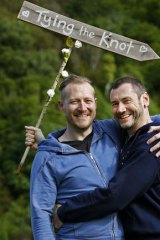 Trent Kandler, left, and Paul McCarthy are an Australian couple who won an all-expenses-paid same-sex wedding in Wellington on Monday.