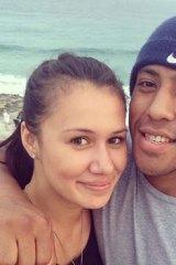 The world at their feet … Mosese Fotuaika with his girlfriend Shanice Alaiasa