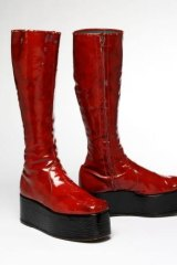 Red platform boots for the 1973 'Aladdin Sane' tour. Courtesy of The David Bowie Archive,