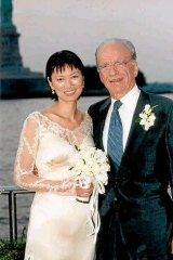 Murdoch and Deng on their wedding day.
