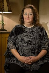 Cheek by jowl: Prudence Vindin in costume as Gina Rinehart.