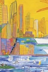 Sydney Harbour in gouache and oil crayon.