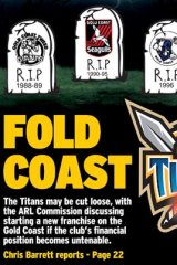 How the Herald reported the Titans' predicament yesterday.