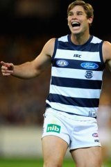 Boy to man: Geelong's Tom Hawkins is growing up.