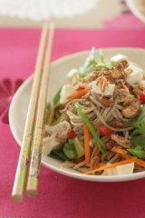 Japanese buckwheat noodle salad.