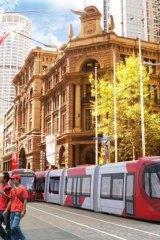 An artist's impression of a future tram line for Sydney's CBD.