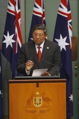Indonesian President   Susilo Bambang Yudhoyono   addresses a special sitting of the Australian Parliament.
