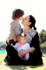 Favours a firm voice:  Yvette Andronicus with son Charlie, 2, and daughter, Gigi, seven months.