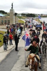 """Islanders take part in the """"Proud to be British"""" parade in Stanley ahead of last year's referendum on ties to Britain."""