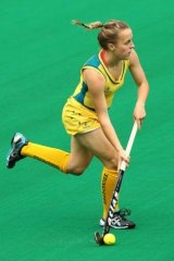 Emily Smith in action for the Hockeyroos.