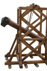 A catapult from the interactive <i>Ancient Rome</i> exhibit.