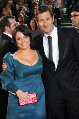 Myf Warhurst at the Logies in May THAT dress with Spicks and Specks host Adam Hills.