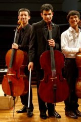 Three of a kind: Winner Yelian He, left, Ruben Palma and Edward King at the Conservatorium.