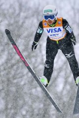 Japan's Sara Takanashi in action in the women's ski jump World Cup event in Sapporo, northern Japan, on Saturday.