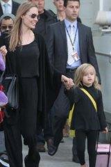 Jolie arriving, with her children, in Sydney last week.