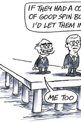 Cartoon / illustration by Ron Tandberg. The Age. 30-10-2009. Former prime minister John Howard and prime minister Kevin Rudd standing on the end of a pier.Rudd: If they had a couple of good spin bowlers I'd let them in!Howard: Me too. Re. Sri Lankan refugees on Oceanic Viking.