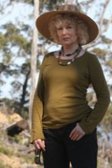 Former fashion designer Prue Acton in a recently logged area in the NSW State Forest.