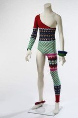 The asymmetric knitted bodysuit, designed by Kansai Yamamoto for the Aladdin Sane tour.