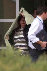 Question time … Mandy Martyn leaves Wangaratta Police Station in July 2007.