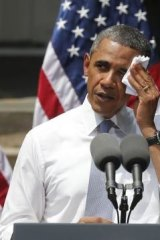 Out in front: Barack Obama giving a speech about climate change at Georgetown University last year.