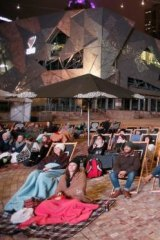 Australian fans: Crowds watching Eurovision at Federation Square in Melbourne.