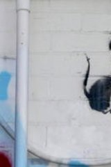 Banksy's parachuting rat before the renovations. Photo: Chris Scott
