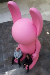 You wascally wabbit... Brisbane Festival artistic director Noel Staunton and artist Stormie Mills welcome the first of Mills' bunnies to Westfield Carindale. A number of them will pop up during this year's festival.