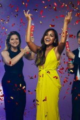 Jessica Mauboy, centre, with Sam Pang and Julia Zemiro - for SBS's coverage of Eurovision, 2014.