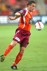 Andrew Packer in action for the Roar in an A-League clash.