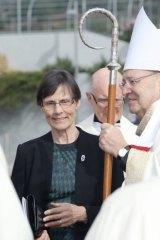 Widow Marian Harradine with Hobart Archbishop Julian Porteus.