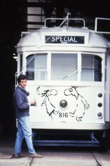 Michael Leunig with the tram before he began work.
