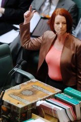 Prime Minister Julia Gillard during question time last Thursday, the day she announced the government's proposed carbon pricing deal.