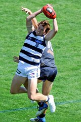 Geelong's Mitch Brown takes a mark during his side's NAB Challenge clash against Carlton in March.