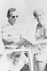 1985 police surveillance photograph of Danny Stein, left, and George Freeman.