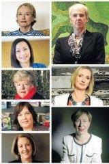 Clockwise from top left: Sally Crossing, Diane Smith-Gander, Susan Lloyd-Hurwitz, Jane Halton, Elizabeth Broderick, Vanessa Garrard, Christine Nixon, Dai Le