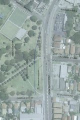 A preliminary plan showing WestConnex slicing a section from Ashfield Park.