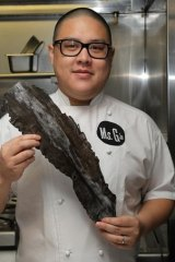Go natural ... chef Dan Hong with kombu, a seaweed that contains naturally occurring glutamates.