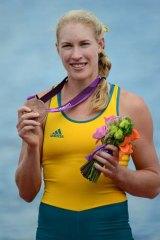 Australia's Kim Crow after winning bronze in the women's single sculls.