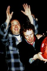 The late Tim Hemensley, front, with Leaping Larry L.