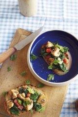 Nice slice … tomato, mushroom and parsley bruschetta.