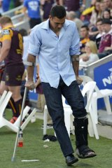 Costly victory: Broncos centre Justin Hodges looks set to miss the rest of the season.