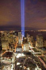 The Tribute in Light shines above the World Trade Centre site on the eve of the ninth anniversary of the terrorist attacks. <i>Picture: AP</i>