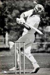 In full swing: Prime Minister Bob Hawke in his 1985 whites.