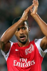 Armand Traore, pictured playing in the Champions League last week, had a horror game against Manchester United.