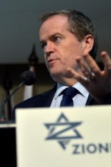 Opposition Leader Bill Shorten speaks at a Zionist Federation meeting.
